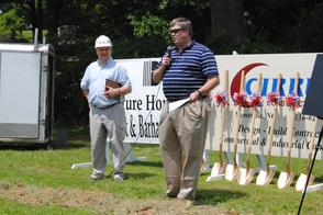 Owners of Cirrus Construction Inc., (from left) Charlie Hall and Scott Flanagan, presented a quick overview of the building project during last Thursday's groundbreaking ceremony in Eden.